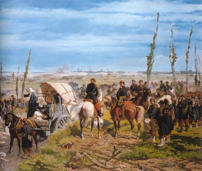 El campo italiano durante la batalla de Magenta, Giovanni Fattori