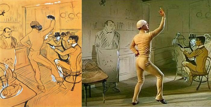 Chocolat danzando en el Iris American Bar de Toulouse-Lautrec y Un americano en París de Minelli