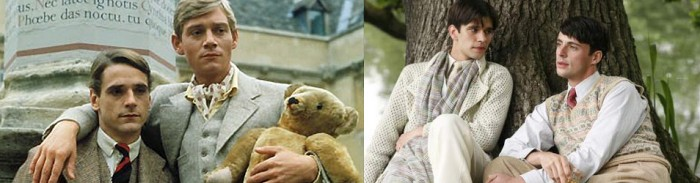 Los personajes de Charles Ryder y Sebastian Flynt en la serie (izquierda) y en la película (derecha)